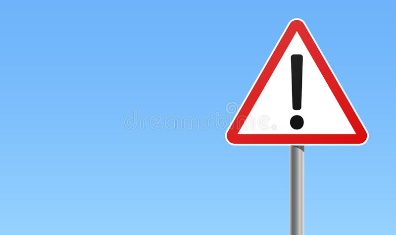 Exclamation mark warning sign red frame icon blue background vector illustration