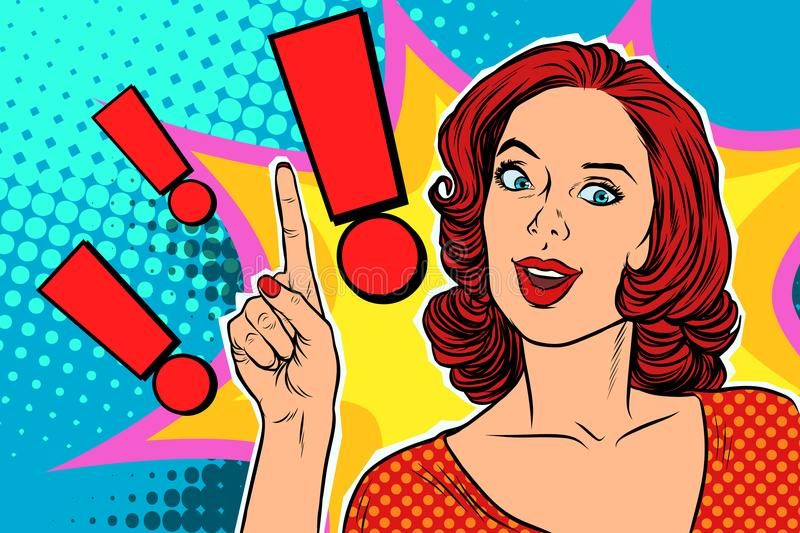 Exclamation point and happy pop art woman. Pop art retro vector illustration royalty free illustration