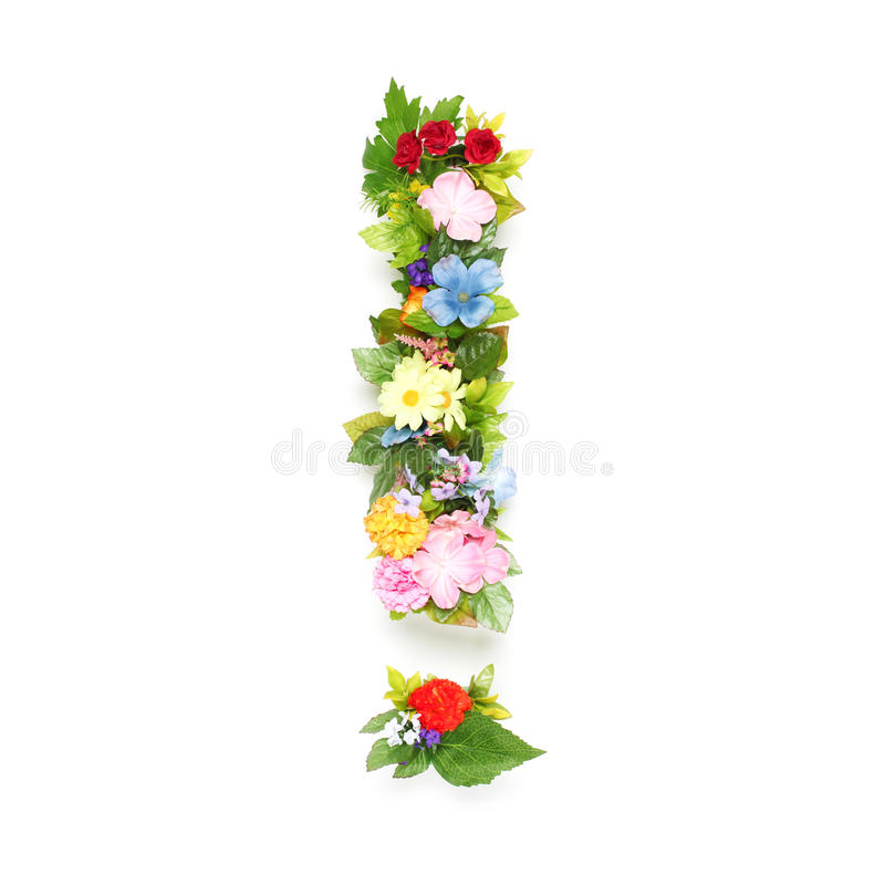 Exclamation point made of leaves & flowers royalty free stock images