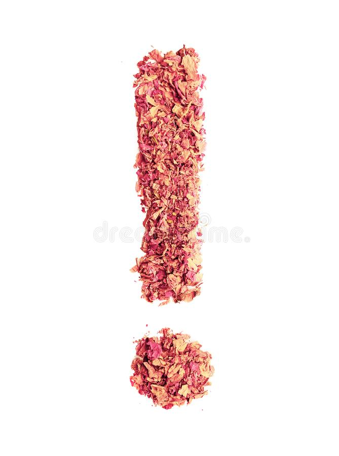 Exclamation point sign made of rose petals, isolated on white background. Food typography. Design element stock photo