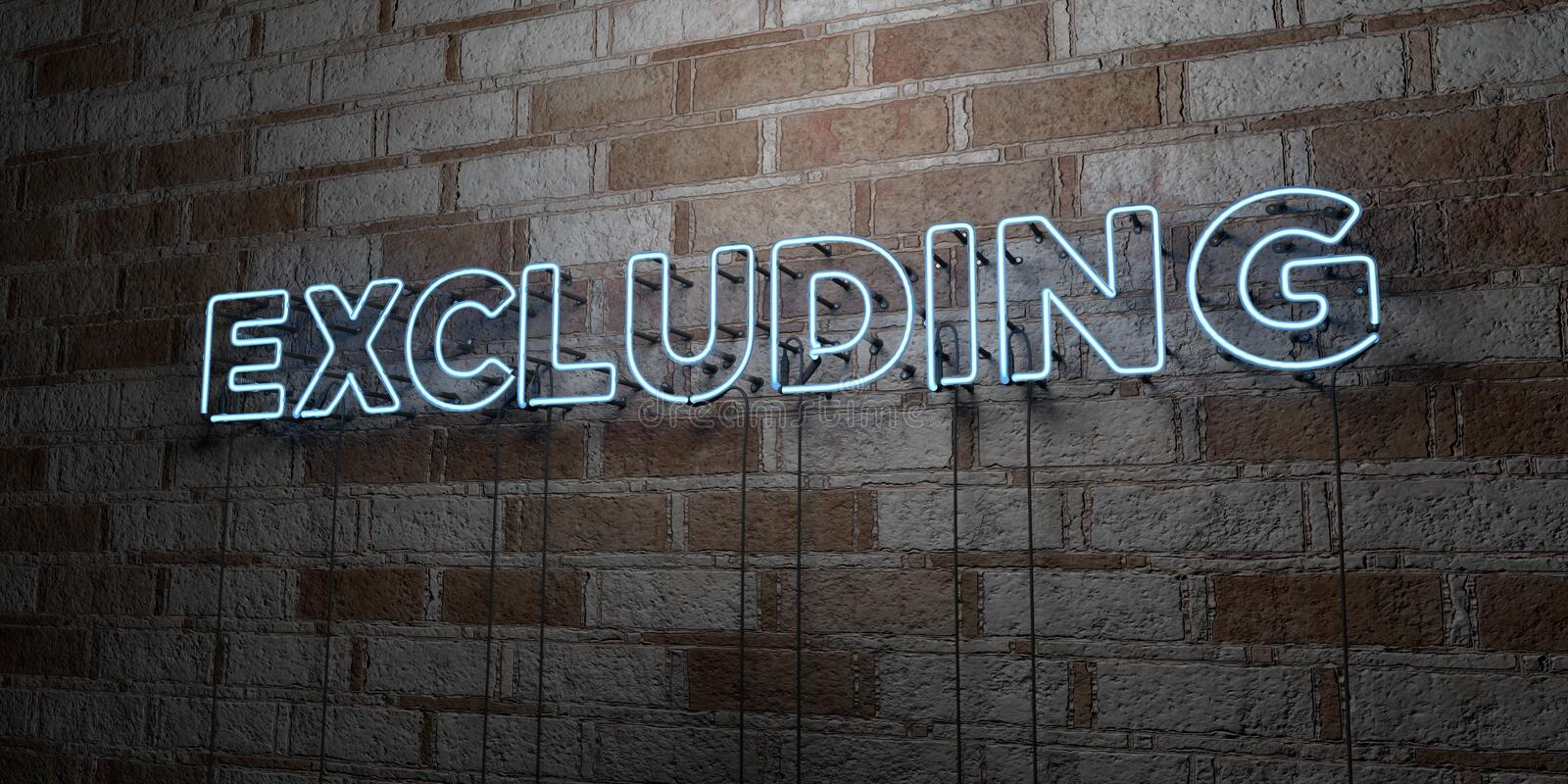 EXCLUDING - Glowing Neon Sign on stonework wall - 3D rendered royalty free stock illustration. Can be used for online banner ads and direct mailers royalty free illustration