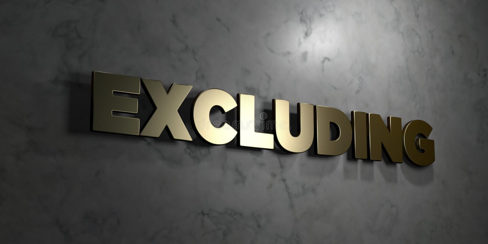 Excluding - Gold text on black background - 3D rendered royalty free stock picture. This image can be used for an online website banner ad or a print postcard stock illustration