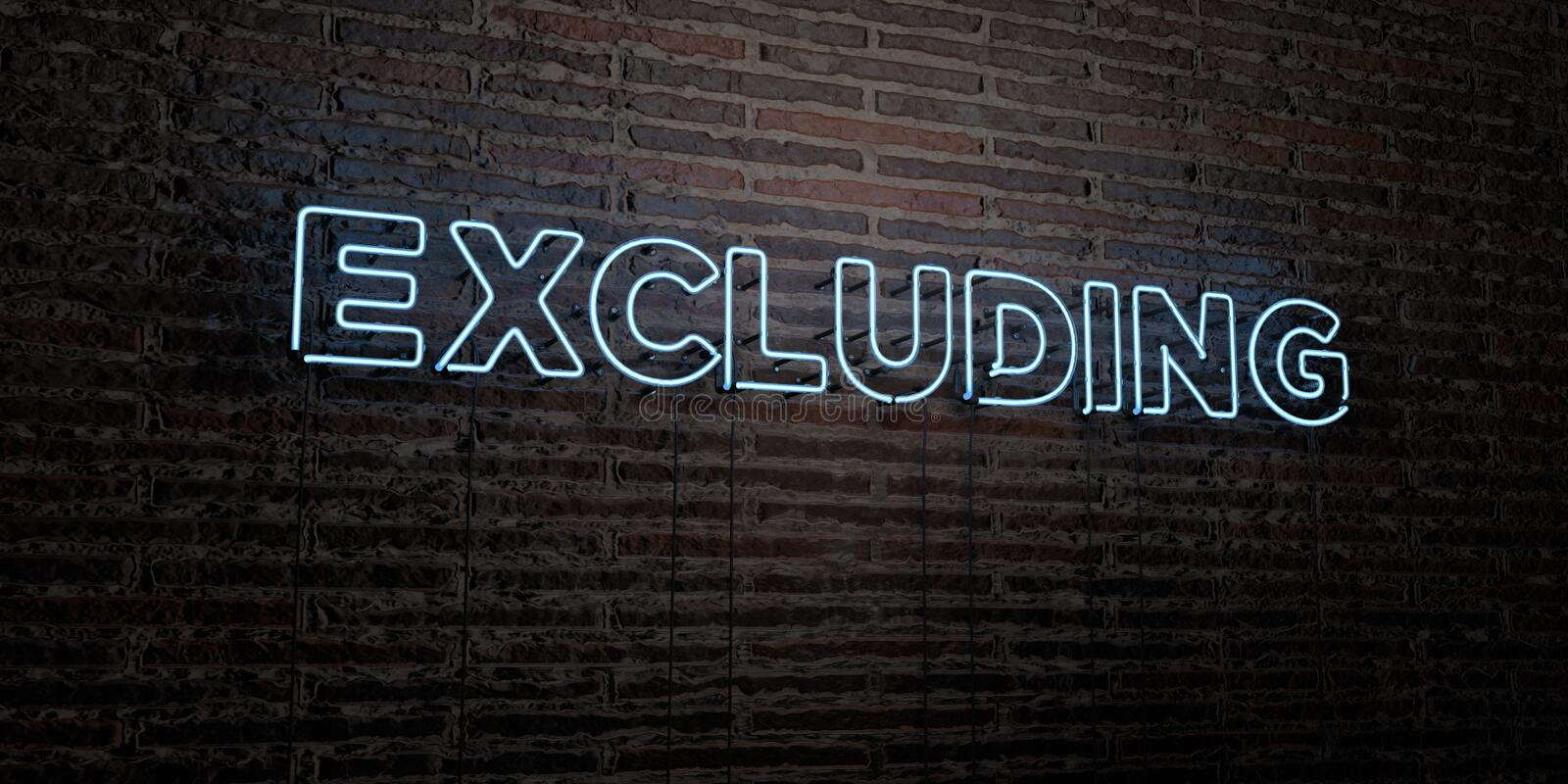 EXCLUDING -Realistic Neon Sign on Brick Wall background - 3D rendered royalty free stock image. Can be used for online banner ads and direct mailers stock illustration