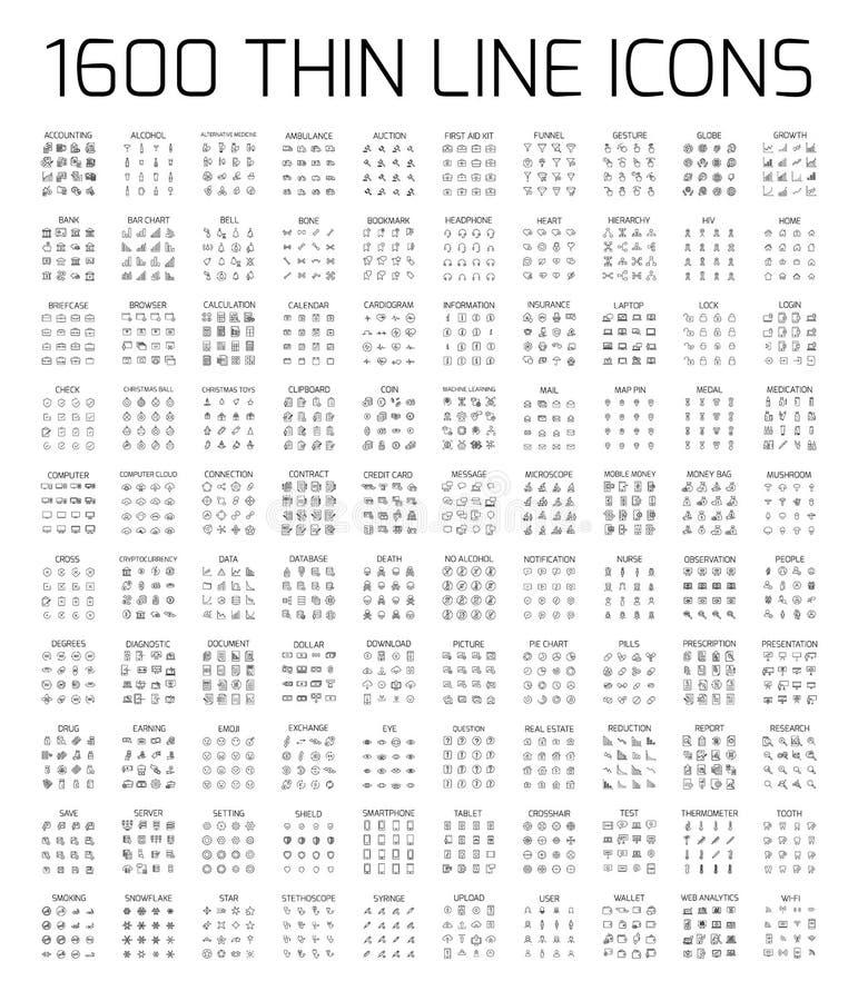Exclusieve 1600 dunne geplaatste lijnpictogrammen stock illustratie