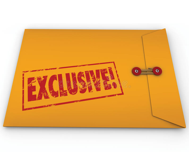 Exclusieve Geclassificeerde Informatie-inhoud Geel Envelopword royalty-vrije illustratie