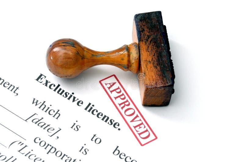 Exclusieve goedgekeurde vergunning - stock afbeelding