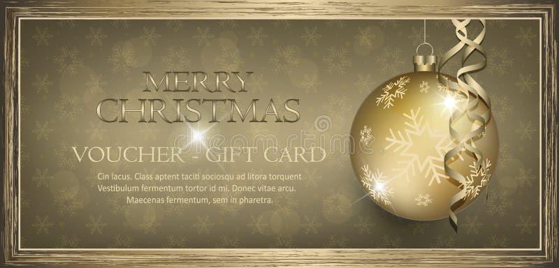 Exclusieve gouden giftbon met van wensen Vrolijke Kerstmis sneeuwvlokken als achtergrond vector illustratie