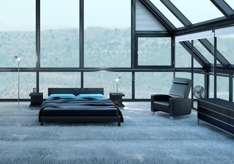 Exclusieve Ontwerpslaapkamer | 3d Binnenlandse architectuur vector illustratie