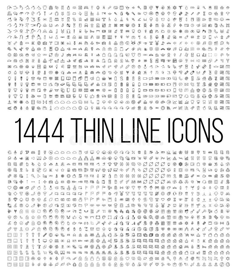 Free Exclusive 1444 Thin Line Icons Set. Stock Photography - 87438742