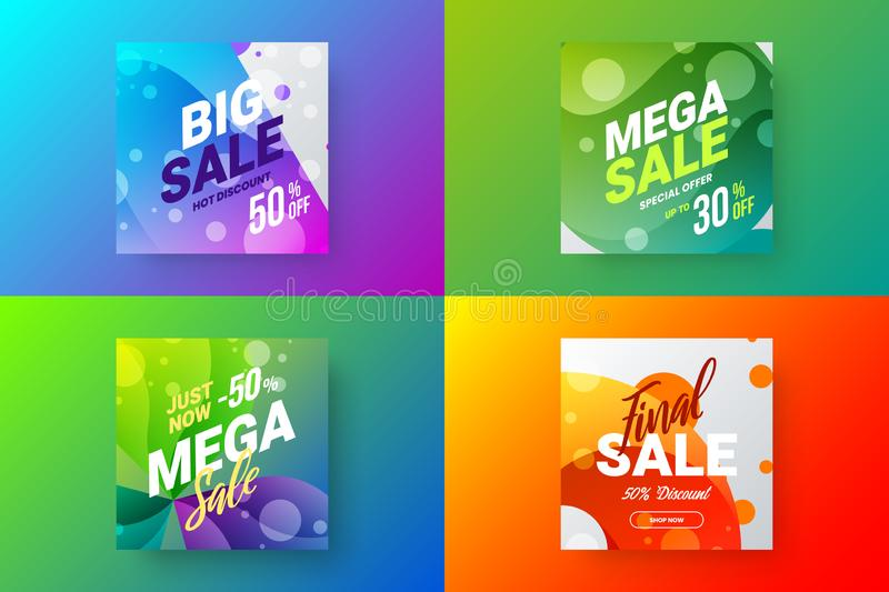 Abstract sale vector banner design template bundle. Special offer discount social media promotion illustration layout set. royalty free illustration