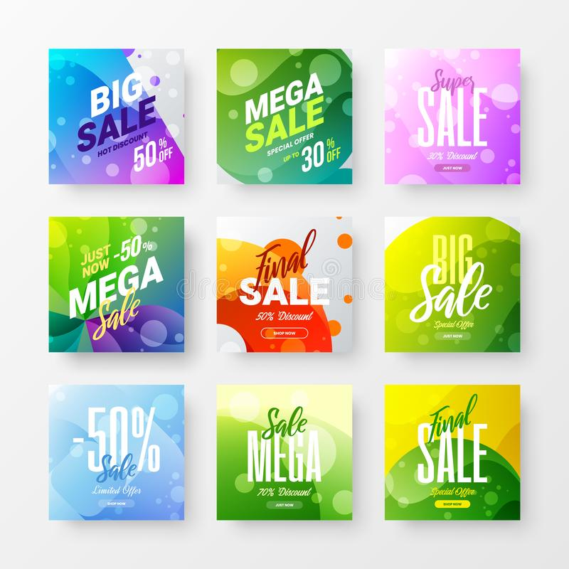 Abstract sale vector advertising banner design template bundle. Special offer discount social media illustration layout set. stock illustration