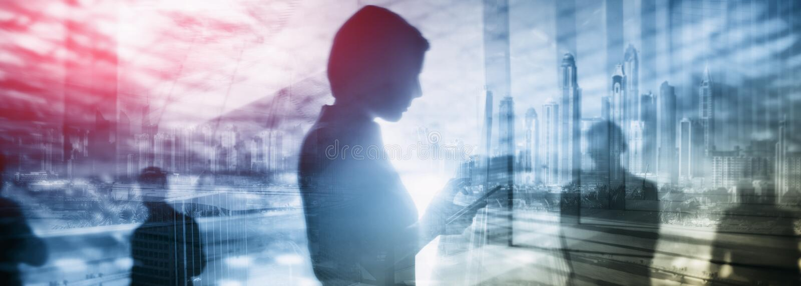 Exclusive business background, girl with phone on city background. Hand holding mobile smartphone with white screen blank at city light at night stock image