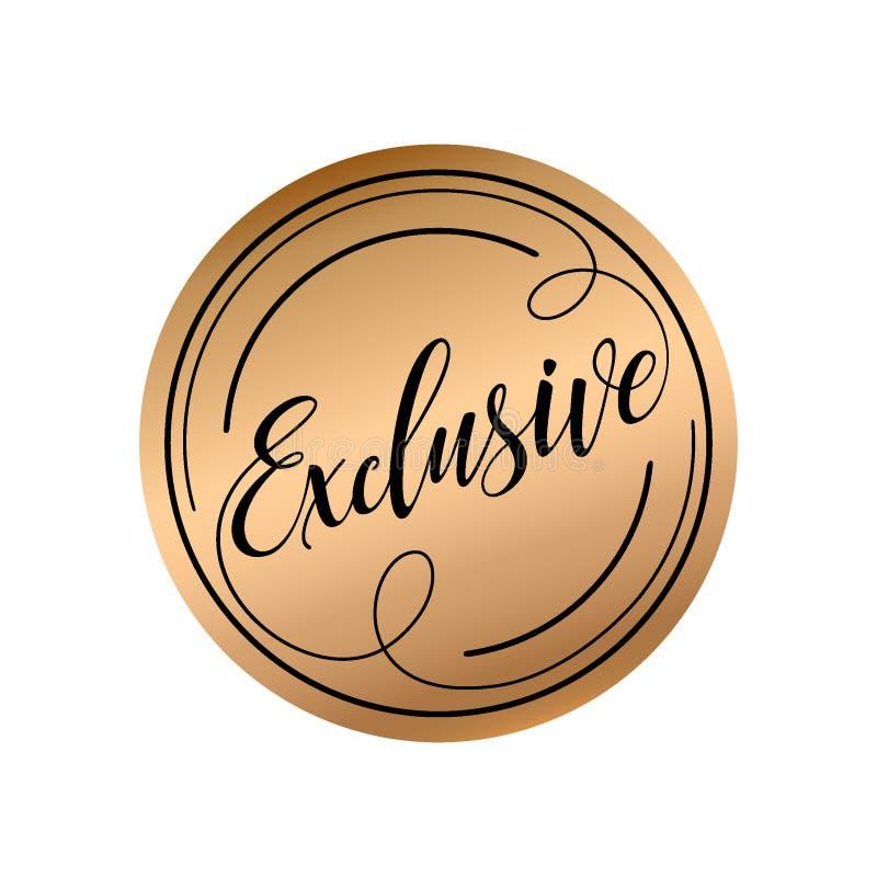Exclusive caligráfico do molde da rotulação Selo escrito à mão ilustração royalty free