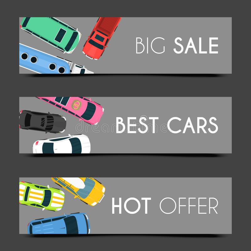 Exclusive car care set of banners vector illustration. Car service. Transportation services in good conditions on. Expensive vehicles. Hot offer. Renting or royalty free illustration