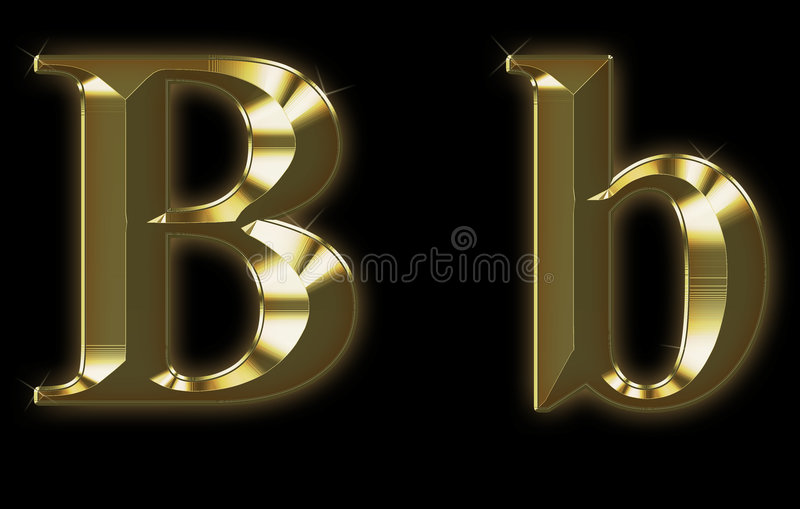 Download Exclusive Collection Font From Brushed Gold - B Stock Illustration - Image: 6893246
