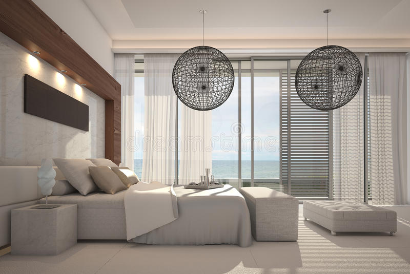 Exclusive Design Bedroom | 3d Interior architecture royalty free illustration