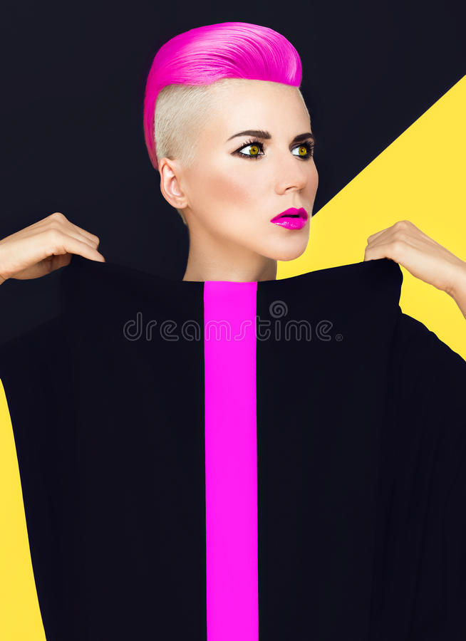 Exclusive fashion photo. model with trendy hairstyle. colored ha. Ir royalty free stock image