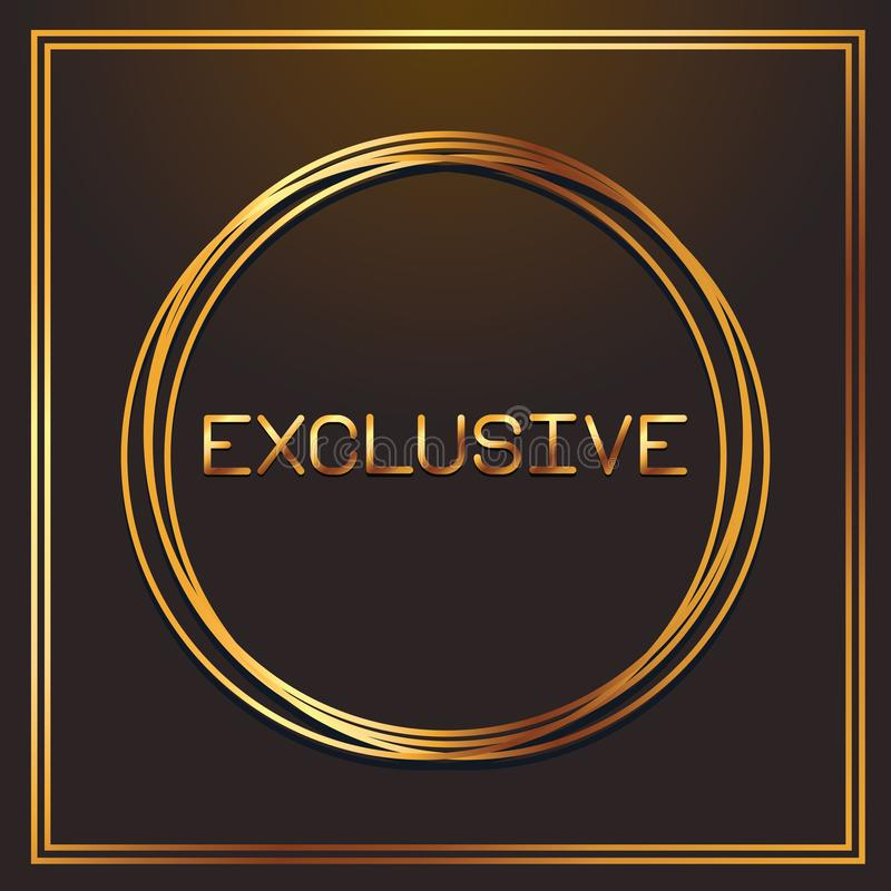 Exclusive gold fonts in round frame stock illustration