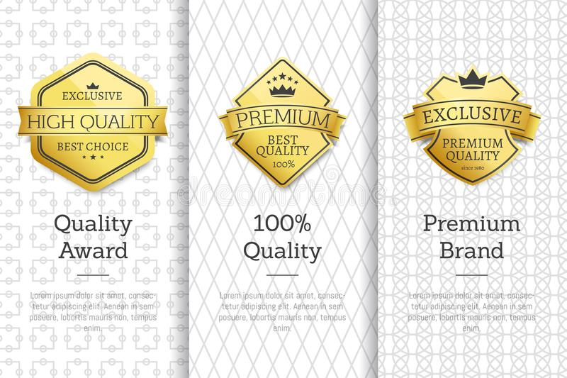 Exclusive High Quality Awards Premium Brand Set royalty free illustration