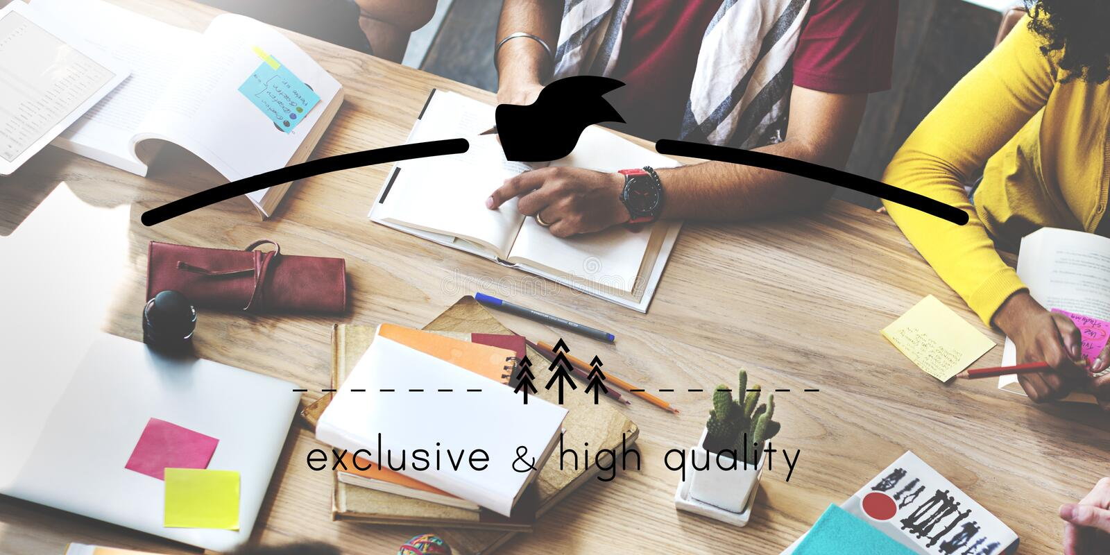 Exclusive and High Quality Brand Markeing Copy Space Concept stock photography
