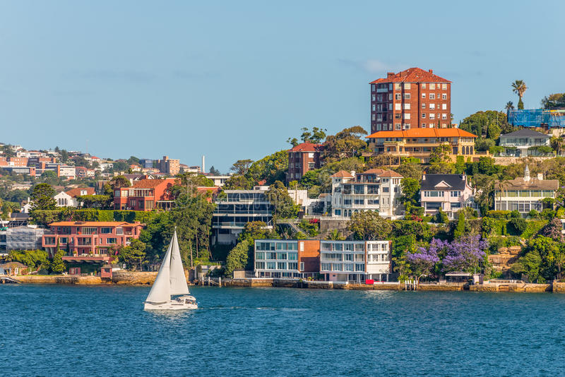 Exclusive homes along Sydney Harbor. The exclusive suburb of Point Piper, Sydney, New South Wales, Australia stock photography