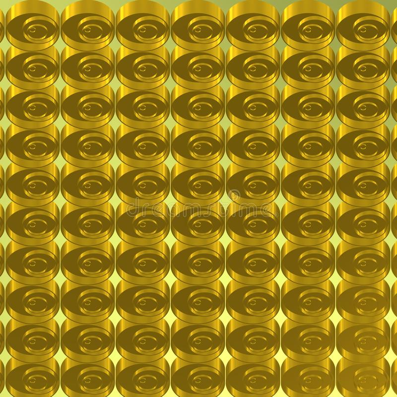 Metallic background with golden series of concentric circles royalty free stock photography