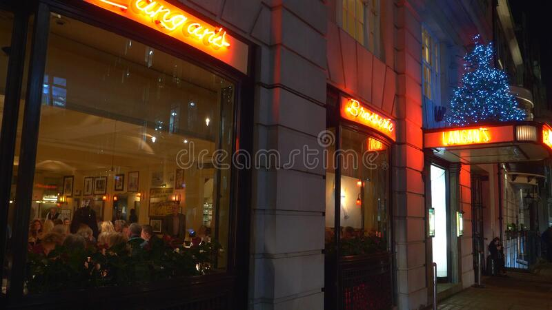 Exclusive Langans restaurant in London Mayfair - LONDON, ENGLAND - DECEMBER 11, 2019. Exclusive Langans restaurant in London Mayfair - LONDON, UNITED KINGDOM royalty free stock photos