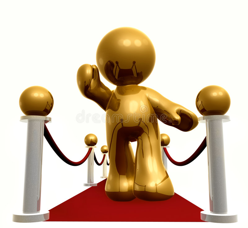 Exclusive Line On Red Carpet Royalty Free Stock Photos