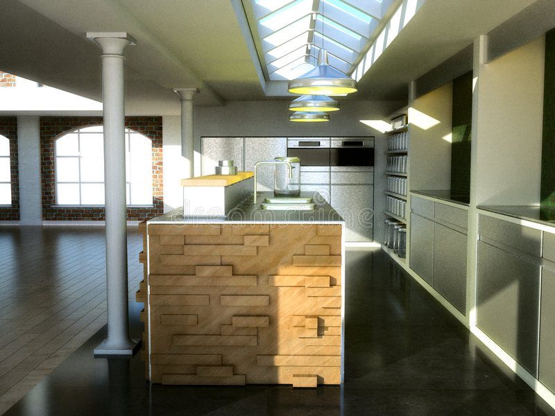 Download Exclusive loft kitchen stock illustration. Image of green - 2491483