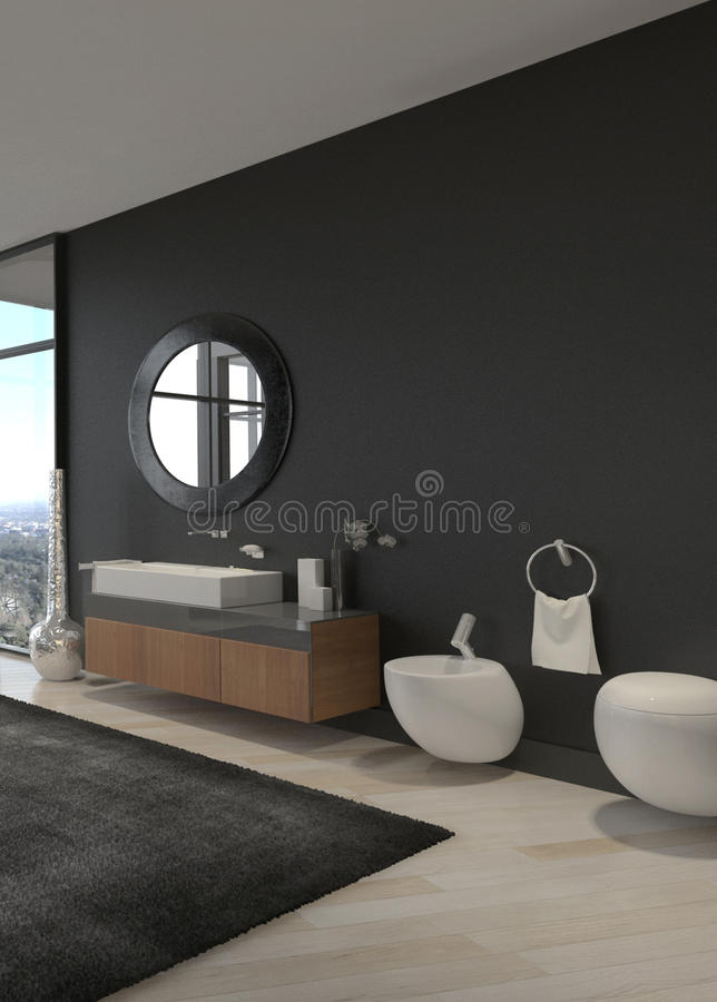 Exclusive Luxury Bathroom Interior in a modern Penthouse royalty free stock photography