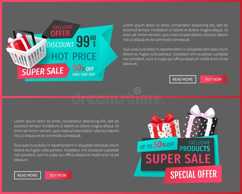 Exclusive Offer, Discount on Shop Products Web stock illustration