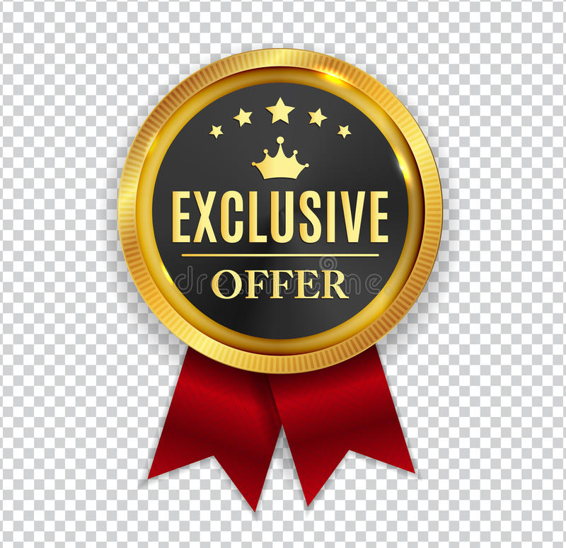 Free Exclusive Offer Golden Medal Icon Seal Sign On White B Royalty Free Stock Image - 97336506