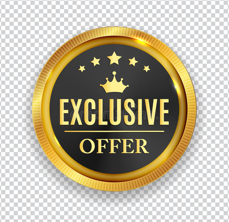 Exclusive Offer Golden Medal Icon Seal Sign on White B stock illustration