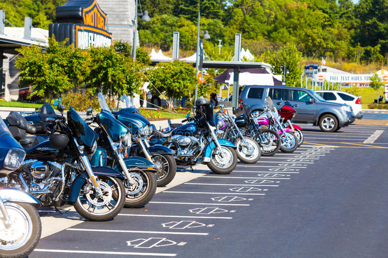 Exclusive parking spaces at Harley-Davidson factory. York, PA - September 23, 2016: Some of the motorcycles parked in exclusive parking spaces at the factory royalty free stock image