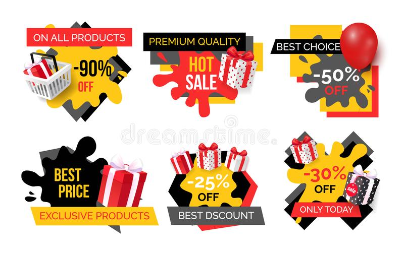 Exclusive Products, Hot Sale Discounts Offers vector illustration