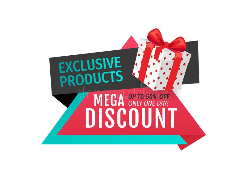 Exclusive Products, Mega Discounts Half Cost Off stock illustration