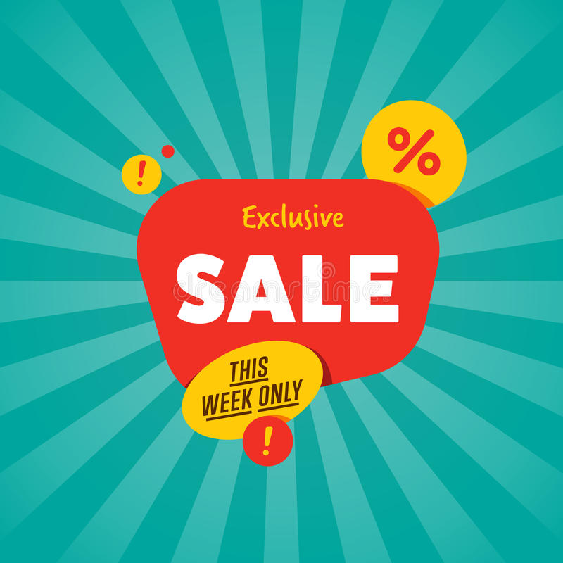 Exclusive sale isolated discount sticker royalty free illustration