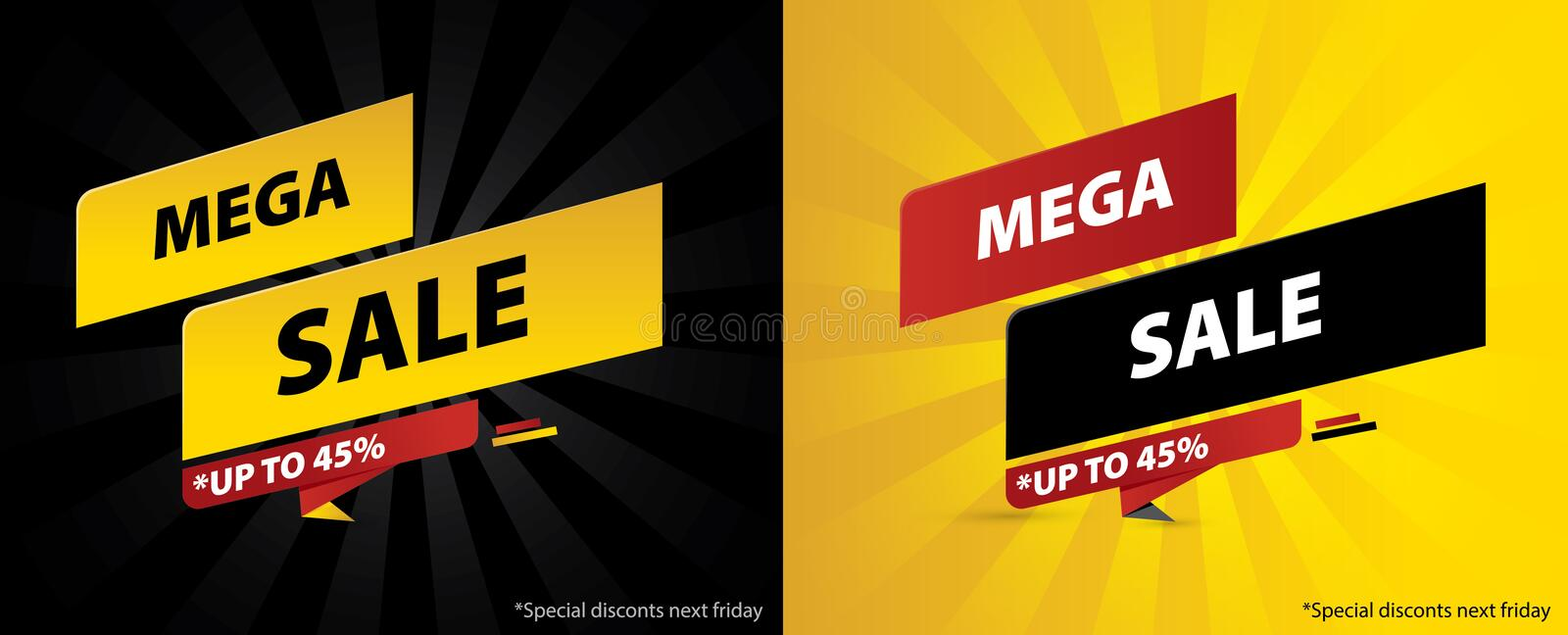 Exclusive sales discount promotion banner design. Template for store stickers, web banners, social media posts or printing on post vector illustration