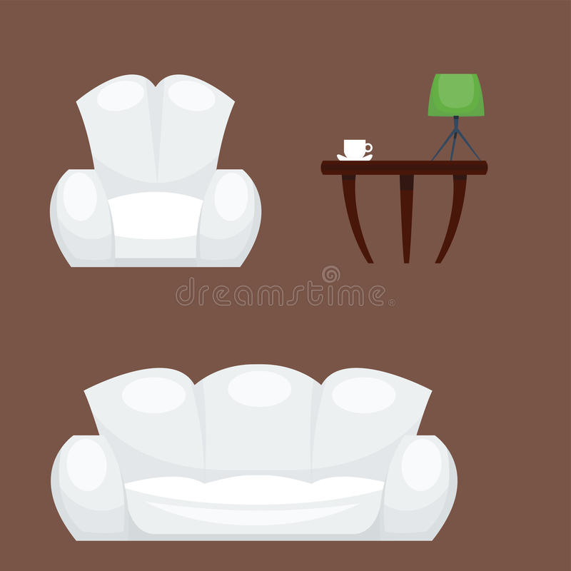 Exclusive sitting furniture bedroom with couch interior room comfortable sofa home relaxation apartment vector royalty free illustration