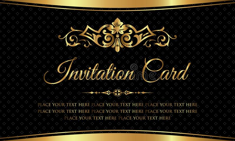 Invitation card design - luxury black and gold vintage style stock illustration