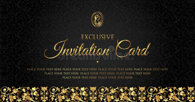 Luxury black and gold invitation card design - vintage style vector illustration