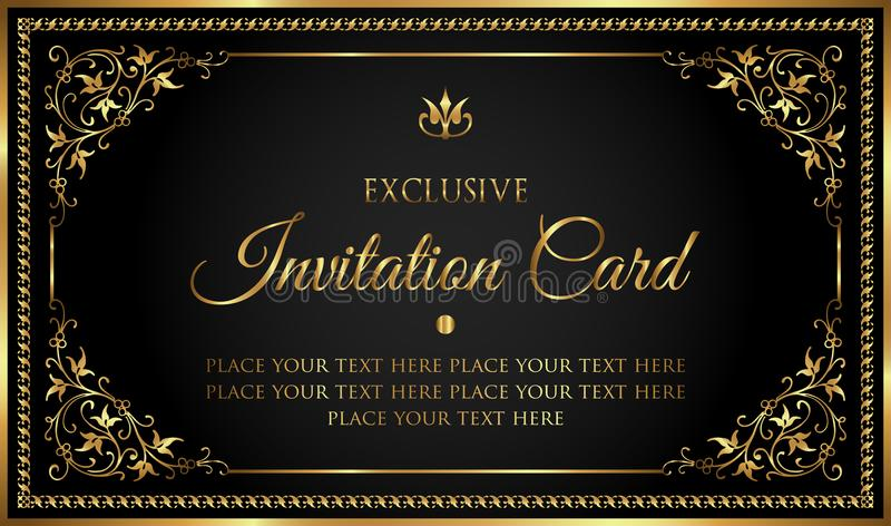 Luxury invitation card in vintage black and gold style stock illustration