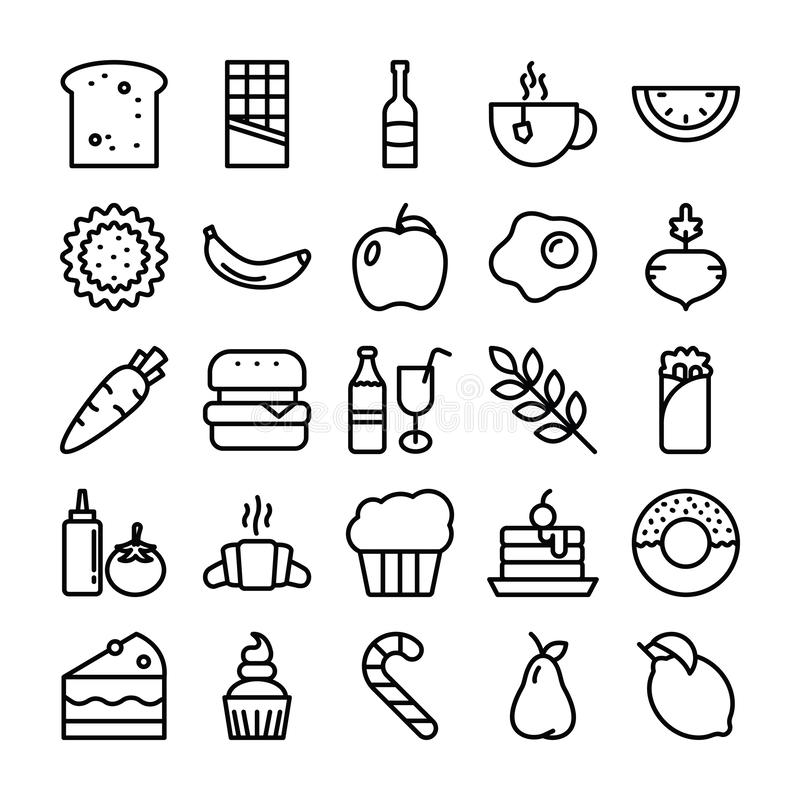 Food Pack Icons royalty free illustration
