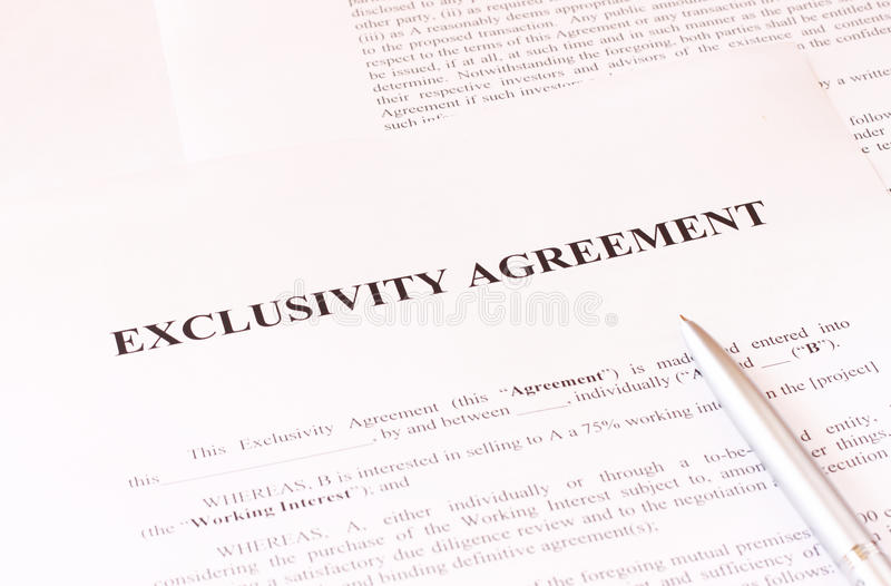 Exclusivity Agreement Form With Pen Stock Photography  Image