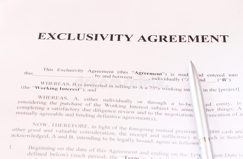 Exclusivity Agreement Form With Pen Royalty Free Stock Image