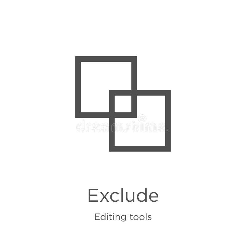 excluya el vector del icono de corregir la colección de las herramientas La línea fina excluye el ejemplo del vector del icono de ilustración del vector
