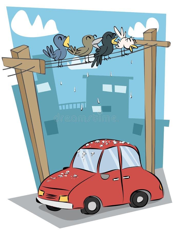 Excremento do pássaro no carro ilustração royalty free