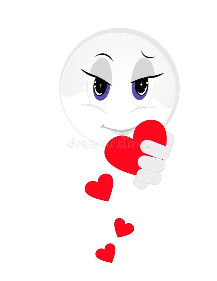 Excrementos de ofrecimiento de los corazones del smiley. ilustración del vector