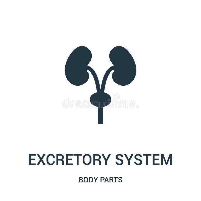 excretie het pictogramvector van het systeemsilhouet van lichaamsdeleninzameling Dunne van het het silhouetoverzicht van het lijn royalty-vrije illustratie