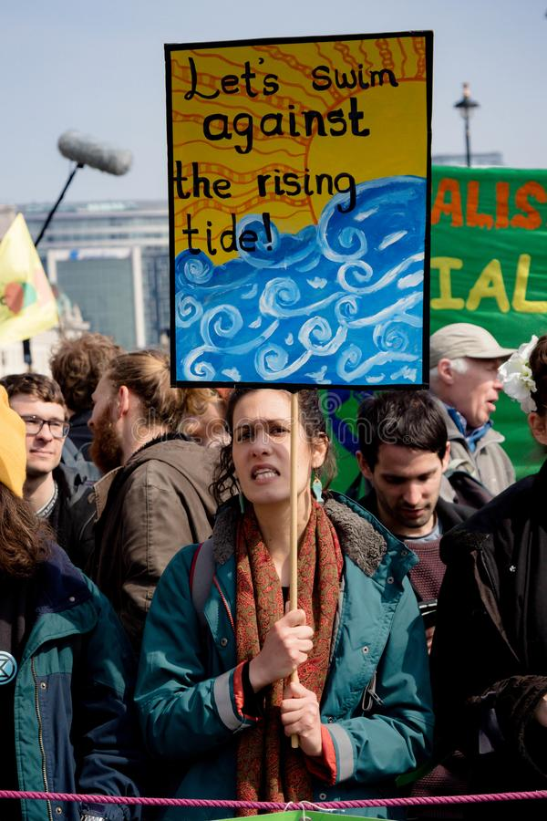 Exctintion revoltprotest i centrala London arkivbilder
